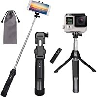 Peyou Palo Selfie Trípode para Móvil y Gopro, [3 en 1 ] Palo Selfie Stick con Control Remoto Recargable + GoPro Adaptador para iPhone, Samsung, Huawei, GoPro Hero 7/6/5/4/3+/3/2/1/Fusion/Session