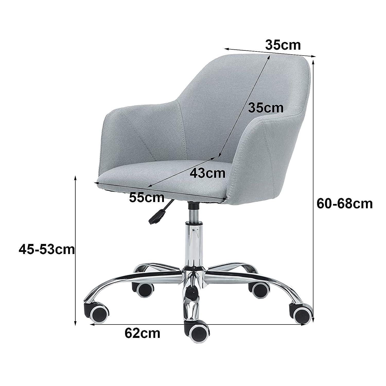 Ergonomisk kontorsstol dator skrivbord uppgift stol med armstöd och ryggstöd, justerbar höjd, max belastning 150 kg BLÅ