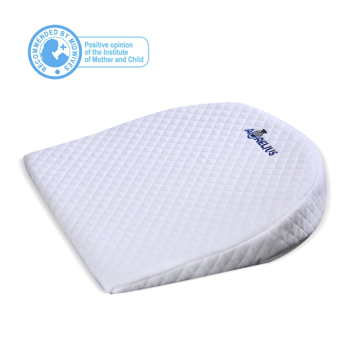Aurelius Baby Sleep Pillow WaterProof Reflux Pillow Wedge 12Degree Incline,Anti-Reflux Colic Congestion For Universal Bassinet/Pram/Moses Basket/Stroller/Crib/Cot/Bed (White)