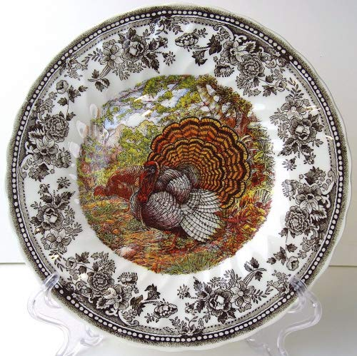 Set of 4 Queen's Majestic Beauty Turkey Thanksgiving Salad Plates Quintessent...