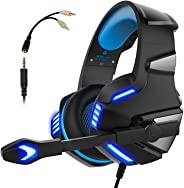 Audífonos Gamer con Micrófono para PS4 Xbox One PC, Diadema Auriculares Alámbrico Estéreo para Juegos Cancelación de Ruido y