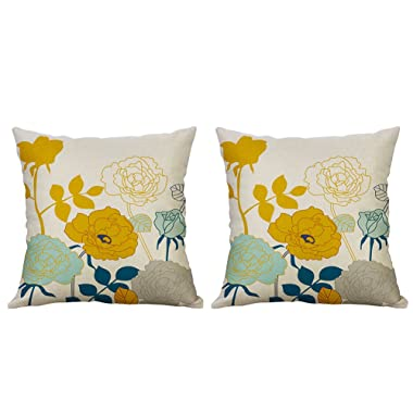Heyhousenny Decorative Throw Pillow Covers Floral Cushion Covers Square Outdoor Pillowcase for Sofa Home Set of 2, Yellow Flower