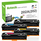 Aztech 4 Packs Compatible for HP 204A CF510A CF511A CF512A CF513A Toner Cartridge for HP Color Laserjet Pro M154 M154nw MFP M180nw MFP M181 Printer Toner (Black/Cyan/Yellow/Magenta)