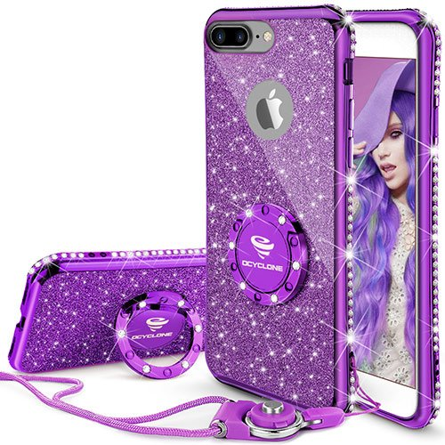 iPhone 7 Plus Case, iPhone 8 Plus Case, Glitter Cute Phone Case Girls with Kickstand, Bling Diamond Rhinestone Bumper Ring Stand Thin Soft Protective iPhone 7 Plus/ 8 Plus Case for Girl Women - Purple (Bling Iphone)