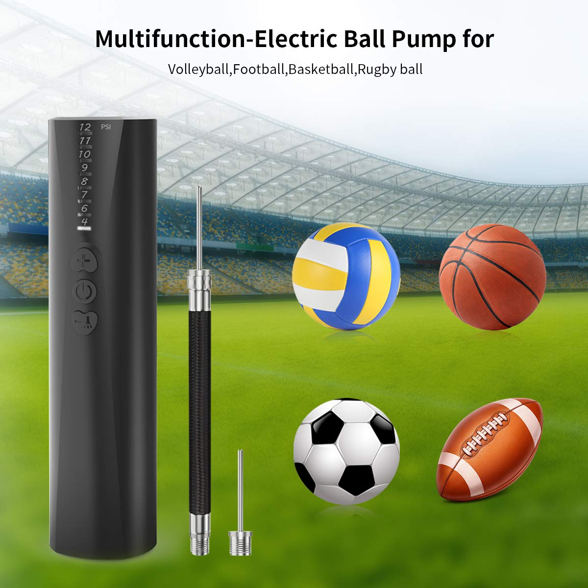 morpilot Mini Pompa Sfera Automatica/Pompa Calcio Pallacanestro con Luce a LED, Pompa Pallone per Calcio/Pallacanestro/Pallavolo/Rugby/Palla Giocattolo Bambini.(Batteria Non Inclusa)