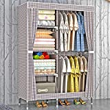 HHAiNi Portable Clothes Closet Thickened Oxford Cloth Wardrobe Double Rods Storage Organizer