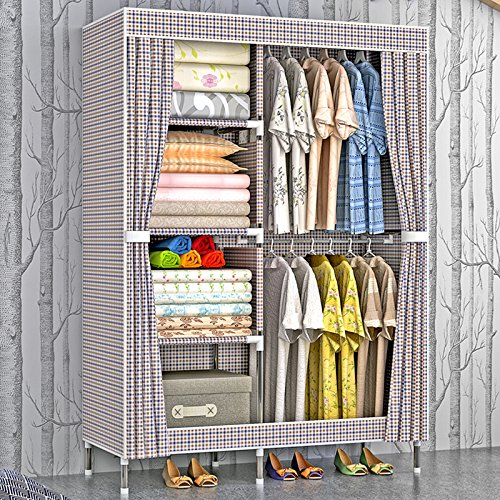 HHAiNi Portable Clothes Closet Thickened Oxford Cloth Wardrobe Double Rods Storage Organizer by HHAiNi