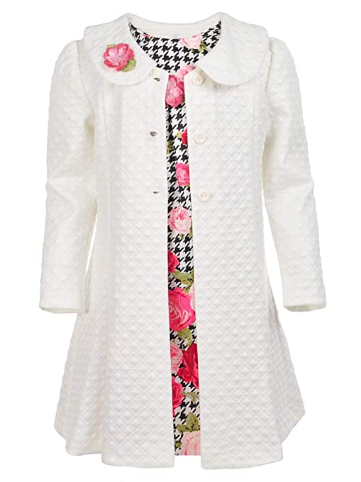 Vintage Style Children's Clothing: Girls, Boys, Baby, Toddler Bonnie Jean Black and White Herringbone with Floral Print Dress and Coat Set $44.99 AT vintagedancer.com