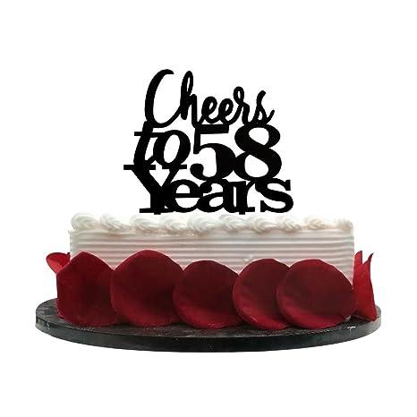 Amazon.com: Cheers a 58 años tarta – 58th cumpleaños ...