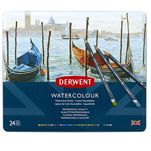 Watercolor Pencil Tin - Derwent Colored Pencils, WaterColour, Water Color Pencils, Drawing, Art, Metal Tin, 24 Count (32883)