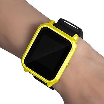 Malloom Ultra-Delgada Marco Caso PC Cubierta Proteger Shell Funda para xiaomi huami amazfit bip smartwatch (Amarillo)