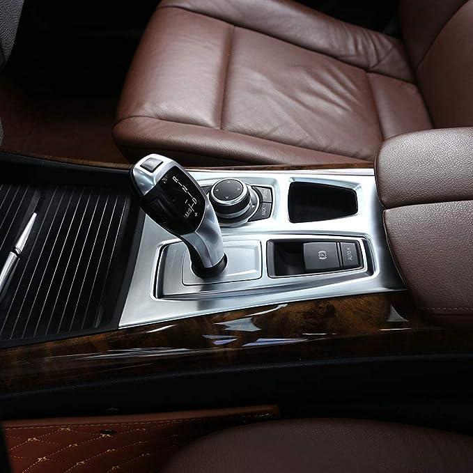 Kimiss Aufkleber Für Schaltgetriebe Verchromte Galvanik Zentralkonsole Getriebe Abdeckung Aufkleber Für X5 X6 E70 E71 08 14 Auto