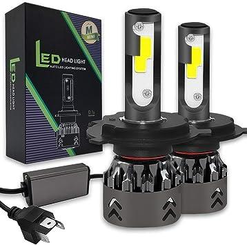 H4 HB2 9003 72W 8000LM US BridgeLux Chip LED Kit 6000K Headlight Hi Lo Bulbs
