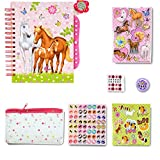 SmitCo LLC Scrapbook For Kids, Starter Scrapbooking Set For Girls/Beginners In Pony/Horse Theme, Includes Scented Album With Lock, 3D Stickers, 24 Jewels, 1 Feather Pen, 1 Craft Tape, 1 Pencil Pouch