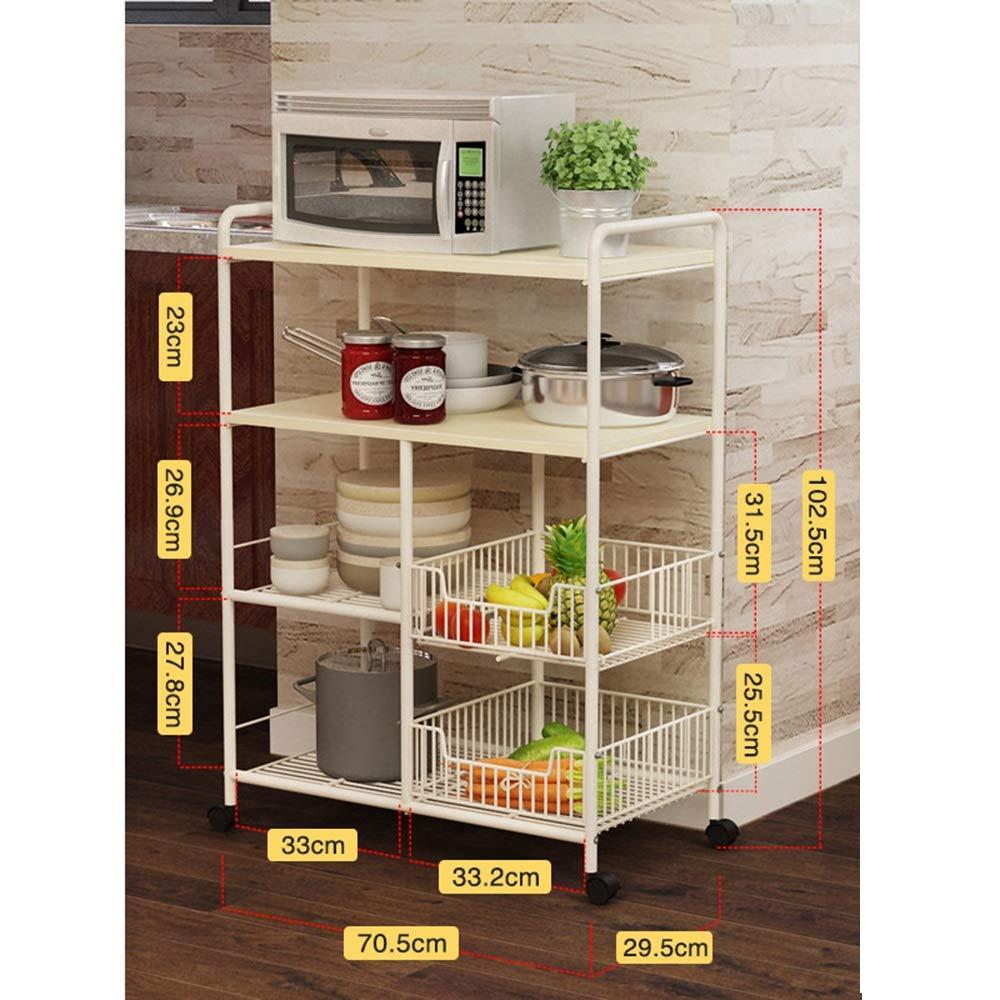 Kitchen shelf HUO Estante De Cocina Cocina Almacenamiento Suministros Piso De 4 Pisos (Color : Arce Blanco) by Kitchen shelf (Image #1)