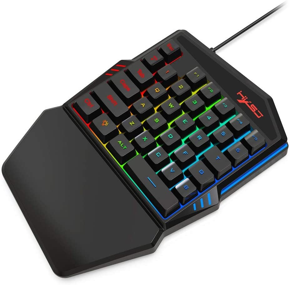 Mouse Gifts for Gaming//Typing Shan-S J100+A866 One Handed Wired Gaming Keyboard and Mouse Set 35 Programmable Keys Mini USB Wired Mechanical Portable RGB LED Backlit Game Keyboard