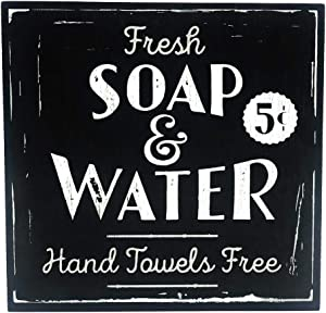 Vintage Bathroom Decor, Fresh Soap & Water Decorative Wood Box Sign, Large, 10x10 Inch, Black