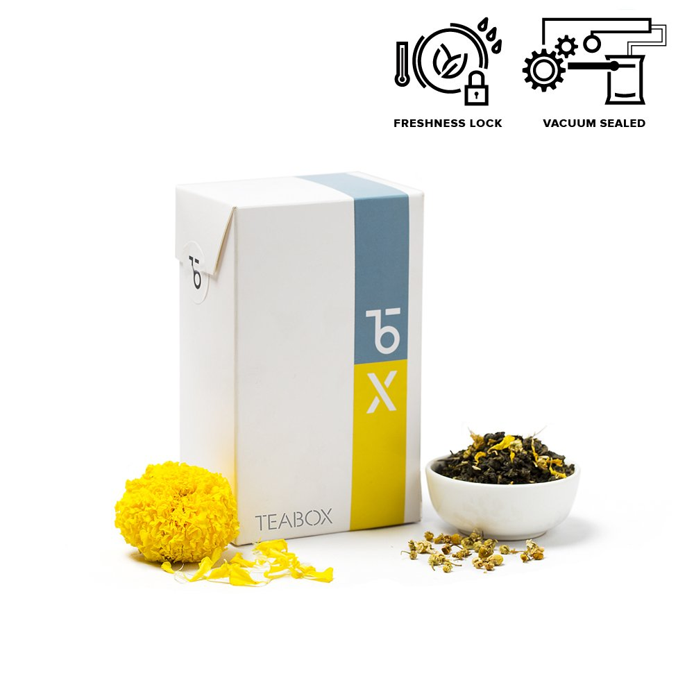 Teabox Chamomile Spring Loose Leaf Green Tea 100g (40 Cups) | Naturally Soothing and Calming Tea, Stress Relieving and Restorative with Marigold | Delivered Garden Fresh Direct from Source