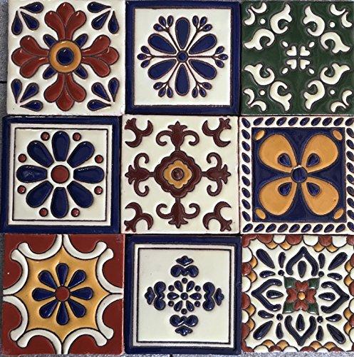Talavera Ceramic Relief Mexican Tile 4x4, 9 Mixed Designs (NO Stickers) 2 ()