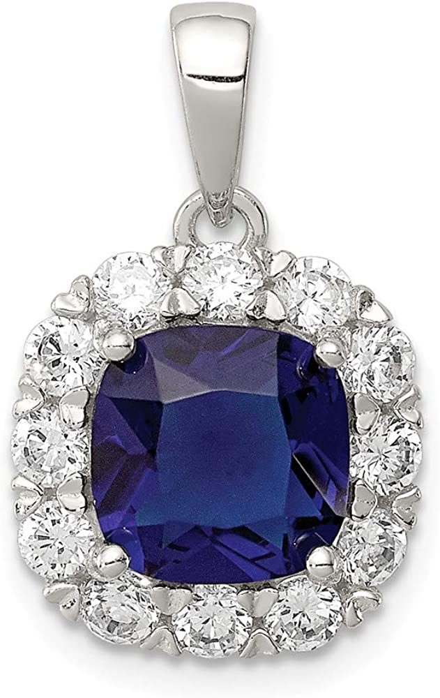 DiamondJewelryNY Sterling Silver Cz and Blue Glass Pendant