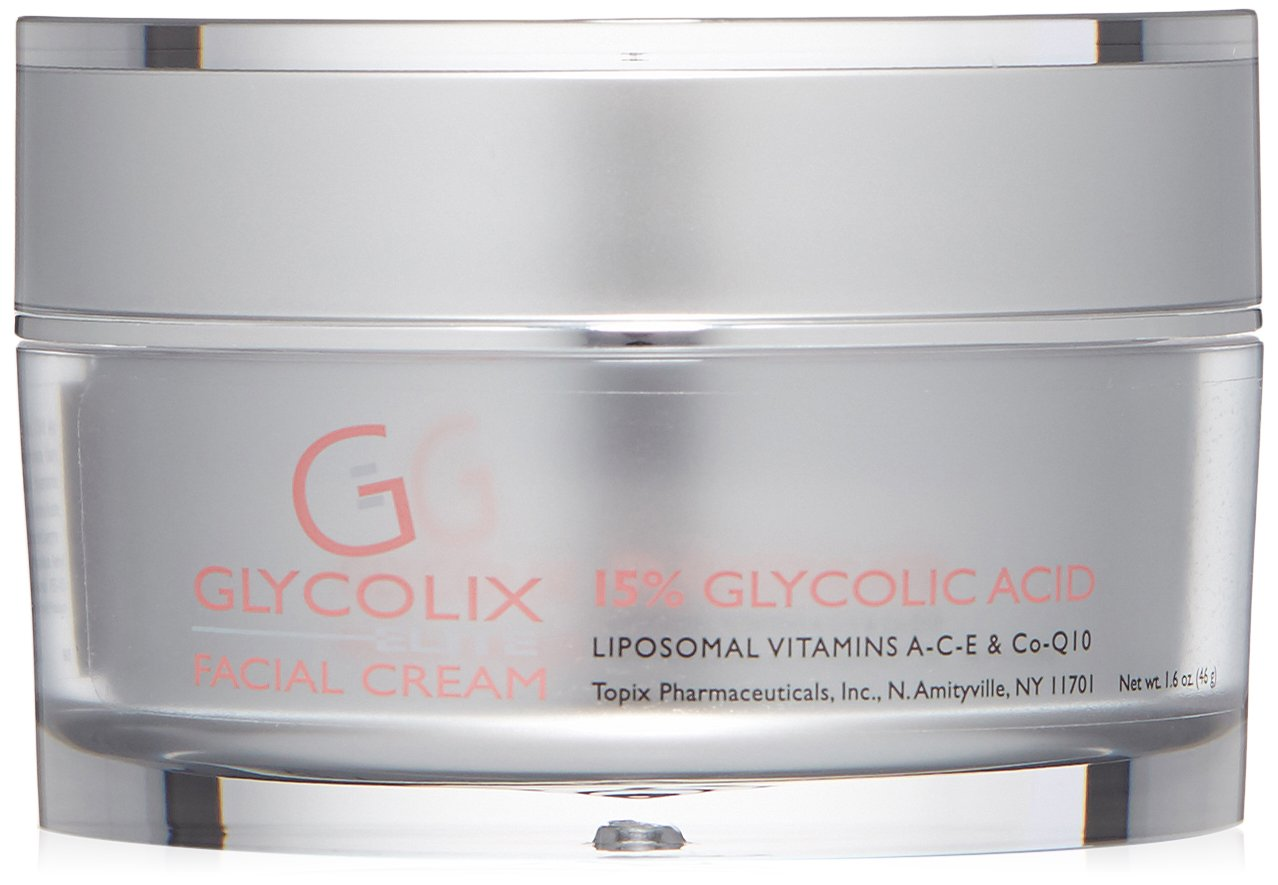 Glycolix Elite 15% Glycolic Acid Face Cream, Exfoliating Face Moisturizer for Acne, Fine Lines, Wrinkles, and Age Spots, 1.6 oz