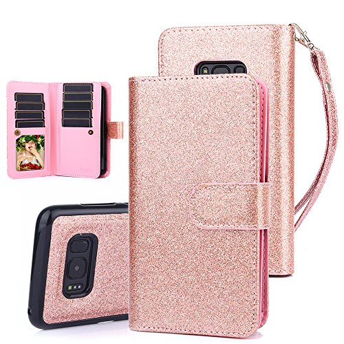 TabPow Galaxy S8 Plus Case, 10 Card Slot - [ID Slot] Wallet Folio PU Leather Case Cover with Detachable Magnetic Hard Case for Samsung Galaxy S8 Plus (SM-G9550) - Glitter Rose Gold