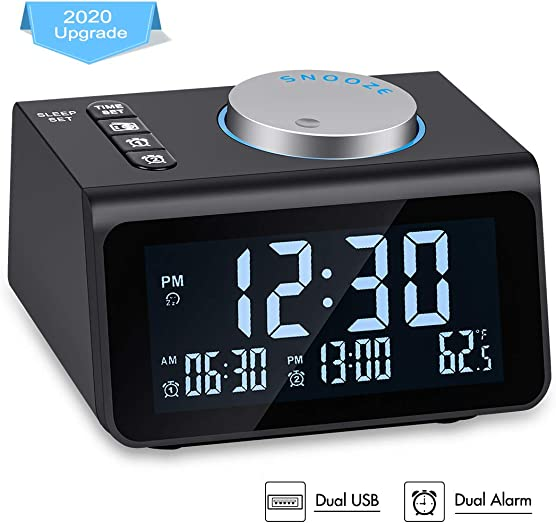 Small Digital Alarm Clock Radio – Dual Alarm, 7 Wake-up Sounds, Display Dimmer, 2 USB Charger, Sleep Timer, Easy to Set, Thermometer, FM Radio Clock w Battery Backup for Bedrooms, Office, Desk, Travel