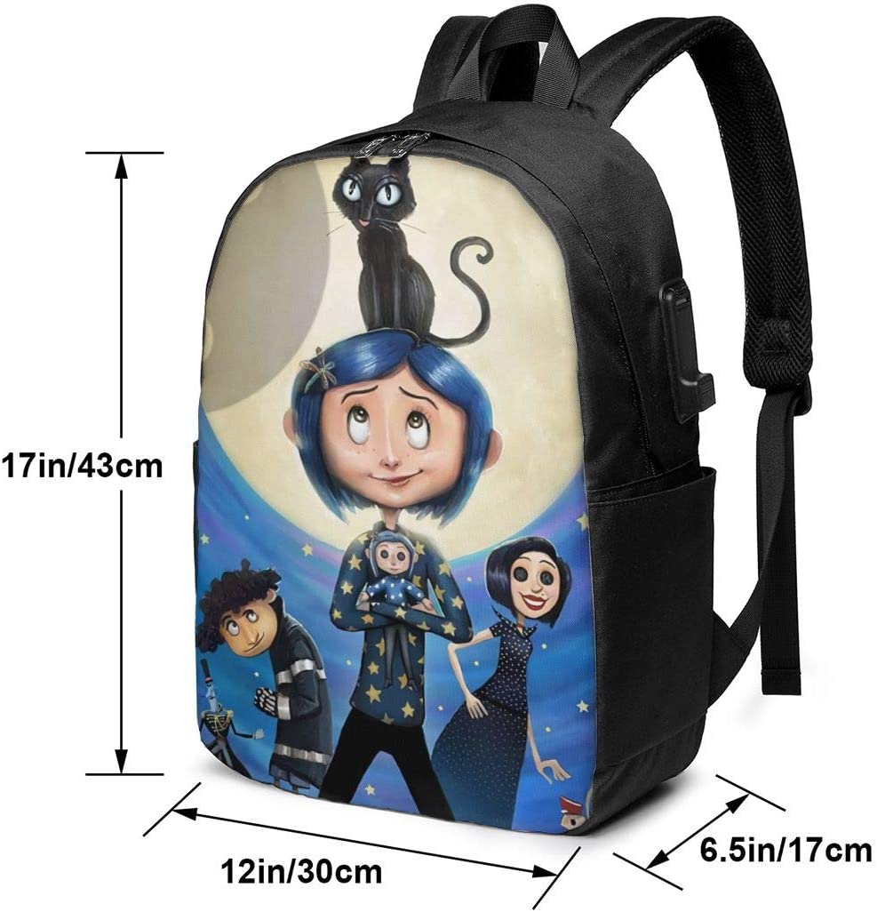Mountaineering Bag Travel Bag Chenhgee Coraline 3D Printing 17in with USB Backpack,School Bag
