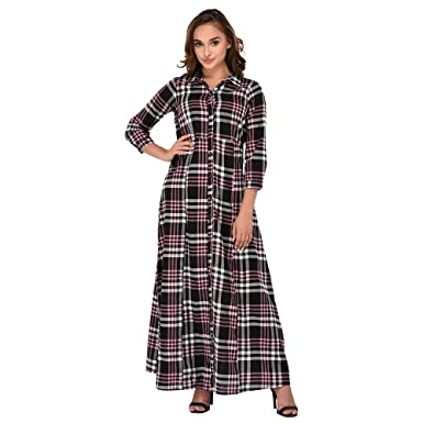 8c22d44755c Itrra Checkered Printed Buttoned Down Long Maxi Shirt Dress for Women   Amazon.in  Clothing   Accessories