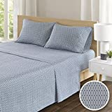 100 cotton king size sheets - Comfort Spaces -Hypoallergenic Printed Diamond Pattern 100% Cotton Sheet Set - 4 Piece - Blue - King Size - Includes 1 Fitted Sheet, 1 Flat Sheet and 2 Pillow Cases
