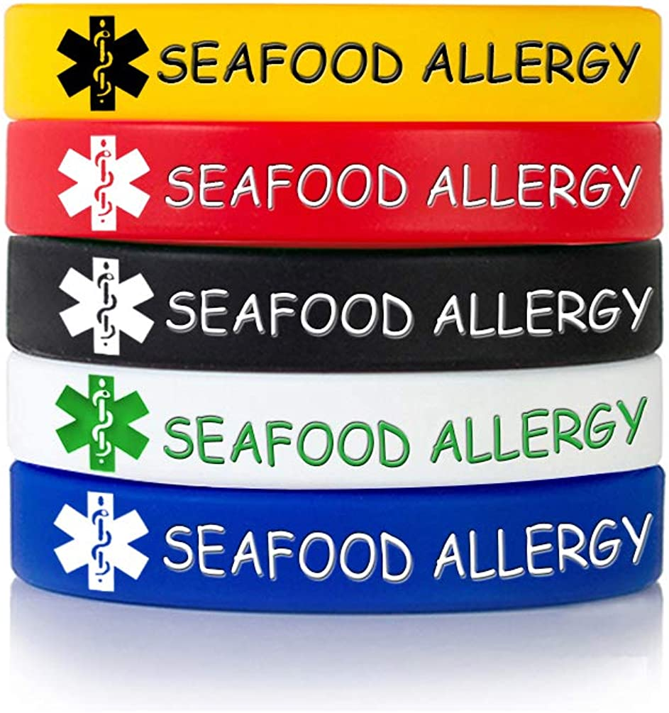 MZZJ Custom Engraving Medical Alert ID Jewelry Allergy ID Food Drug Allergy Bracelet,100% Silicone Rubber ID Bracelet Band,5 Color Set,Multiple Size 5.5