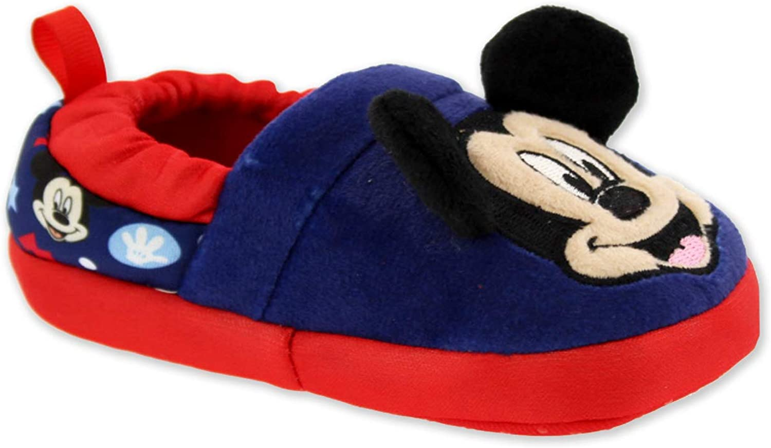 Josmo Kids Mickey Mouse Toddler Boys Plush A-Line Slippers with 3D Ears