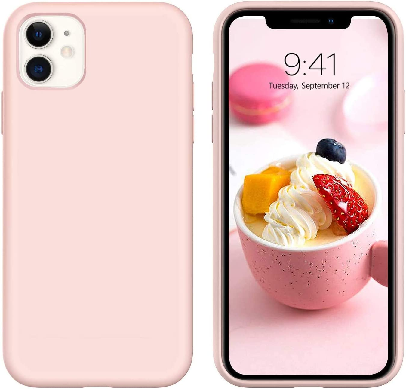 Hot Sandy Solid Color Phone case for iphone11 sillicon protetive Cover for iphone11(Pink, for iPhone 11)