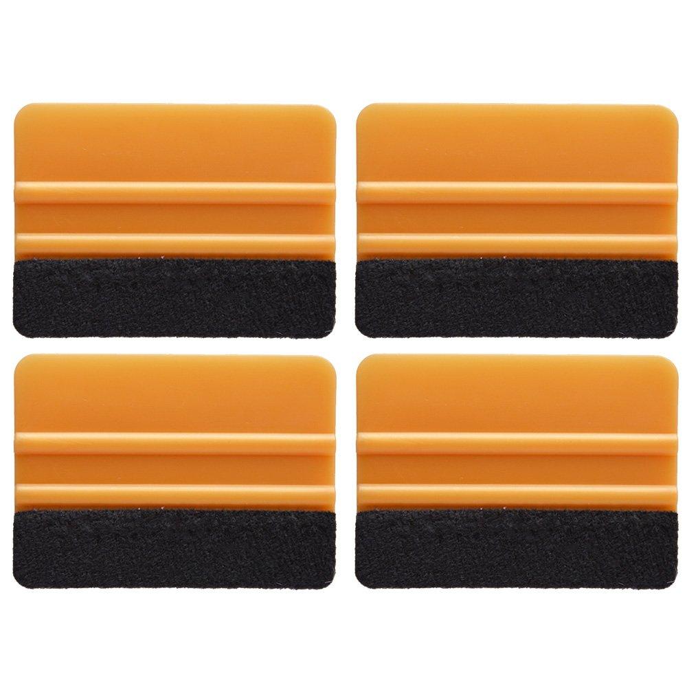 Ehdis® [4PCS] Haute Qualité Felt bord Raclette 4 pouces pour la voiture vinyle Scraper Decal Applicateur outil Edge Black Fabric Feutre - Bleu PP Scraper