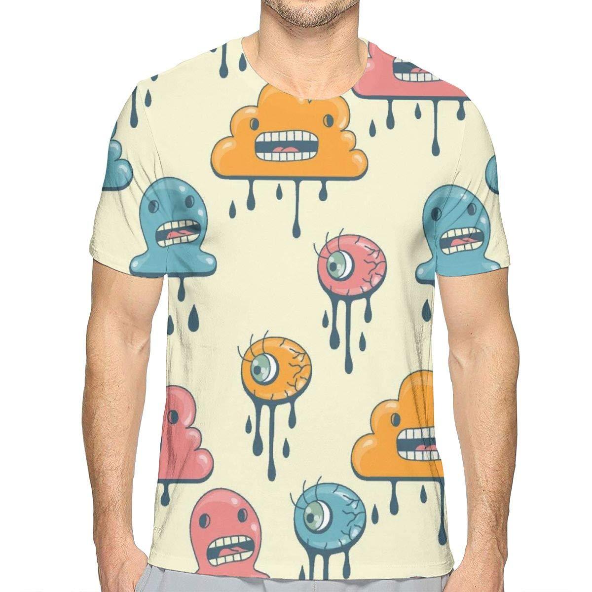 YongColer Summer Comfortable Soft Mens T-Shirt Crew Short Sleeve Cute Green Rooster Pattern