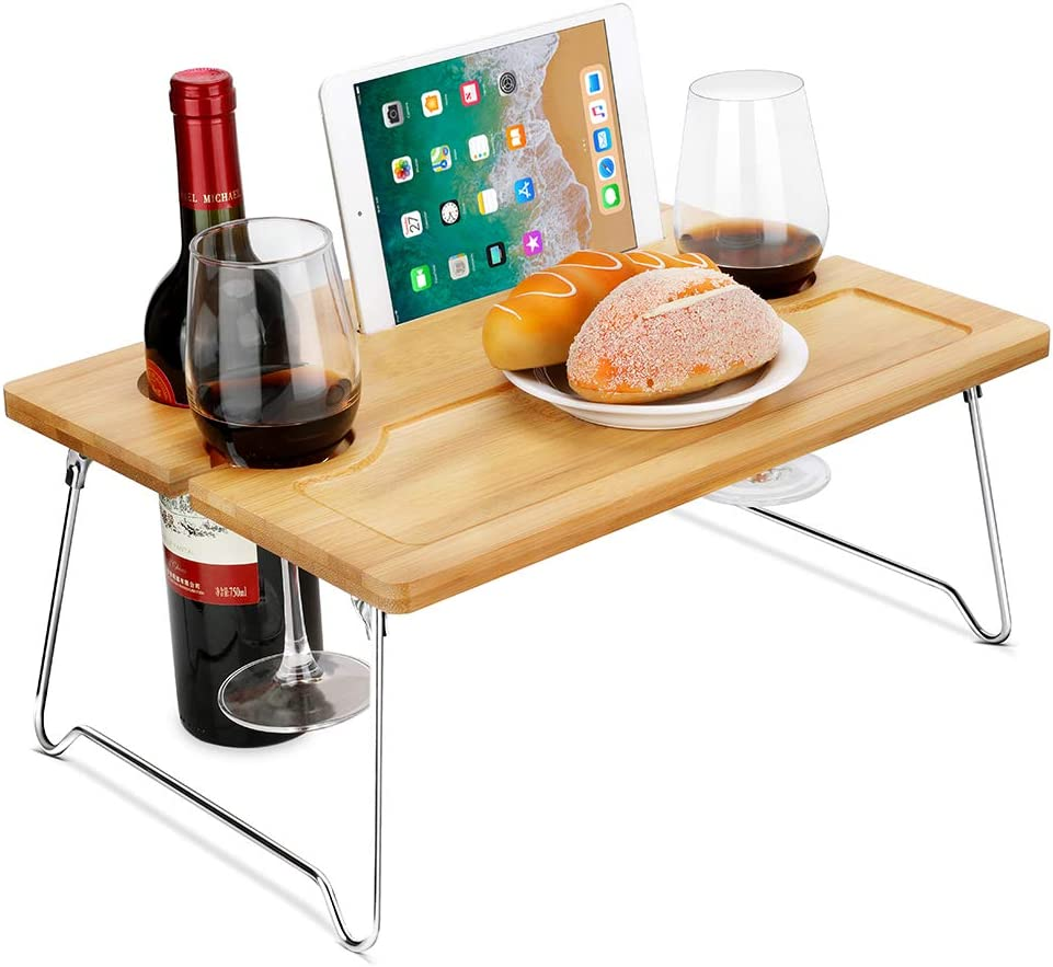 Picnic Wine Table, Portable and Foldable Picnic Wine and Snack Table, Bamboo Wine Holder Table Cheese Tray Outdoor on the Beach and Park or Indoor on the Bed and Sofa-2 Positions