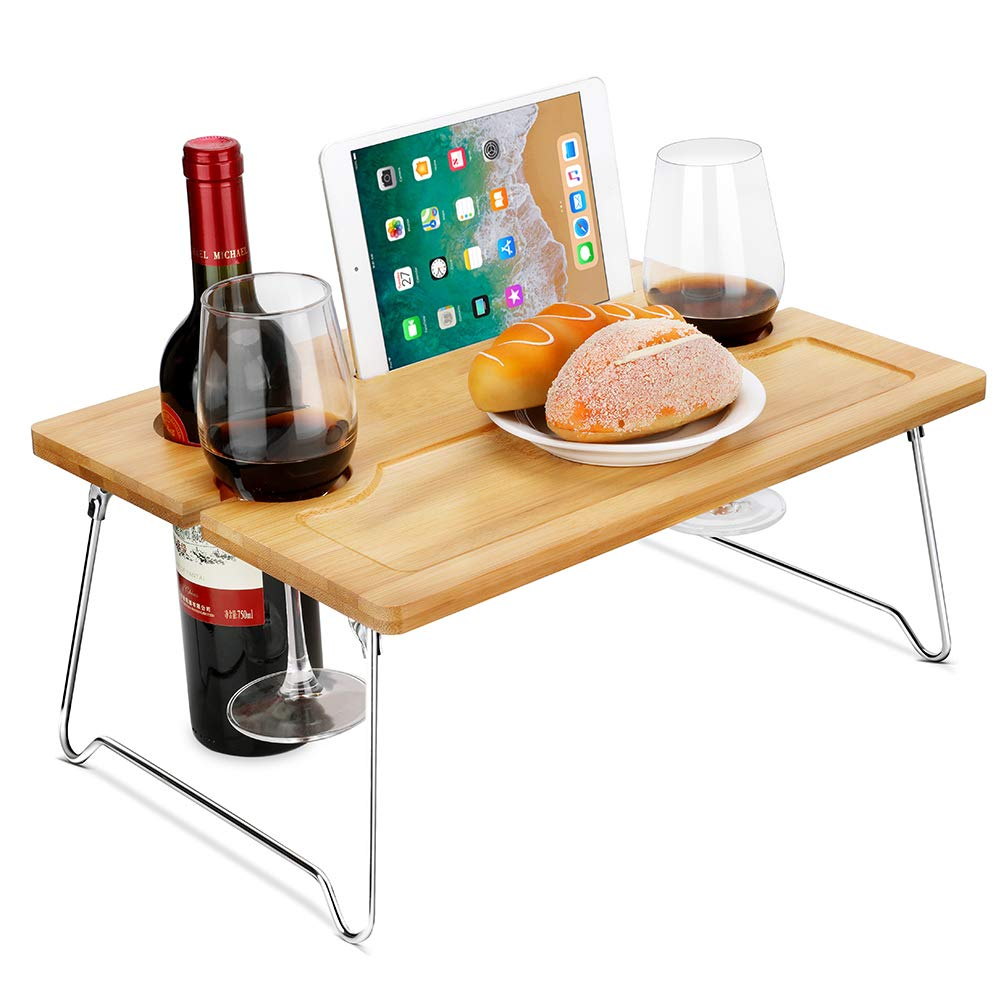 Picnic Wine Table, Portable and Foldable Picnic Wine and Snack Table, Bamboo Wine Holder Table Cheese Tray Outdoor on the Beach and Park or Indoor on the Bed and Sofa-2 Positions by ALL Music-box