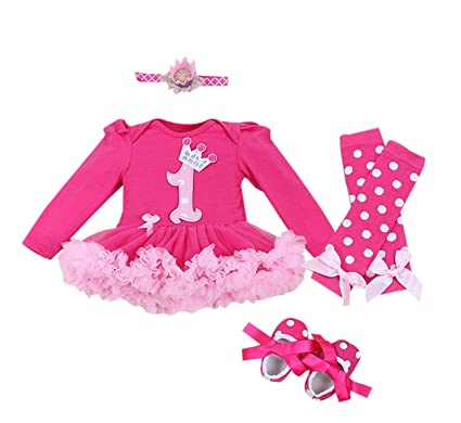6acd1a54d1382 Marlegard® Baby Girls' 4PCs Hot Pink Birthday Tutu Dress Headband Shoe Leg  Warmers