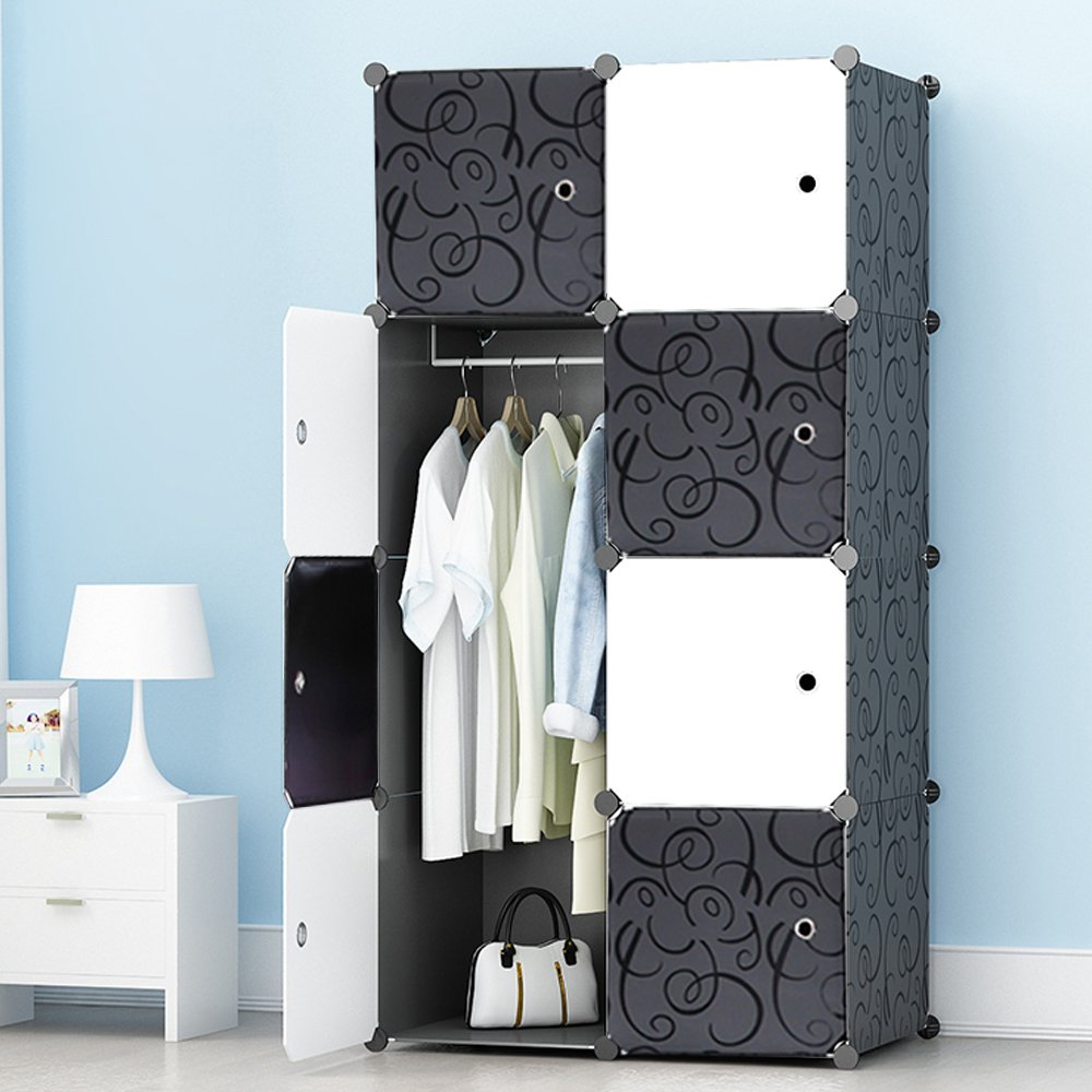 MEGAFUTURE Portable Wardrobe Closet for Hanging Clothes, Combination Armoire, Modular Cabinet for Space Saving, Ideal Storage Organizer Cube for Books, Toys, Towels(8-Cube)