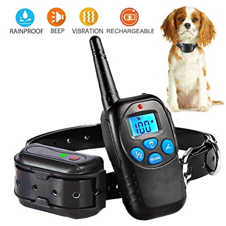 PetAZ Electric Black Dog Shock Collar Trainion Newest Design Rechargeable Backlight LCD Screen Remote 3 Mode Shock/Beep/Vibration Training Collars for ...