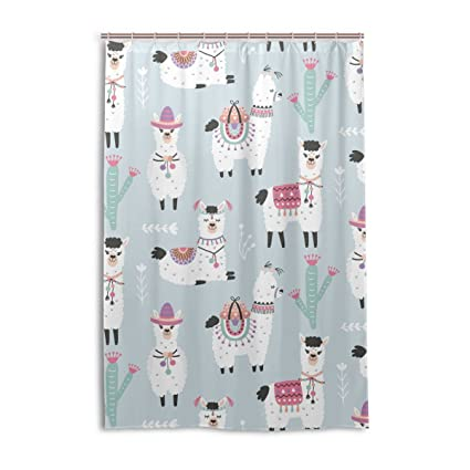 Amazon Cute Alpaca With Cactus Shower Curtain Bath Curtains