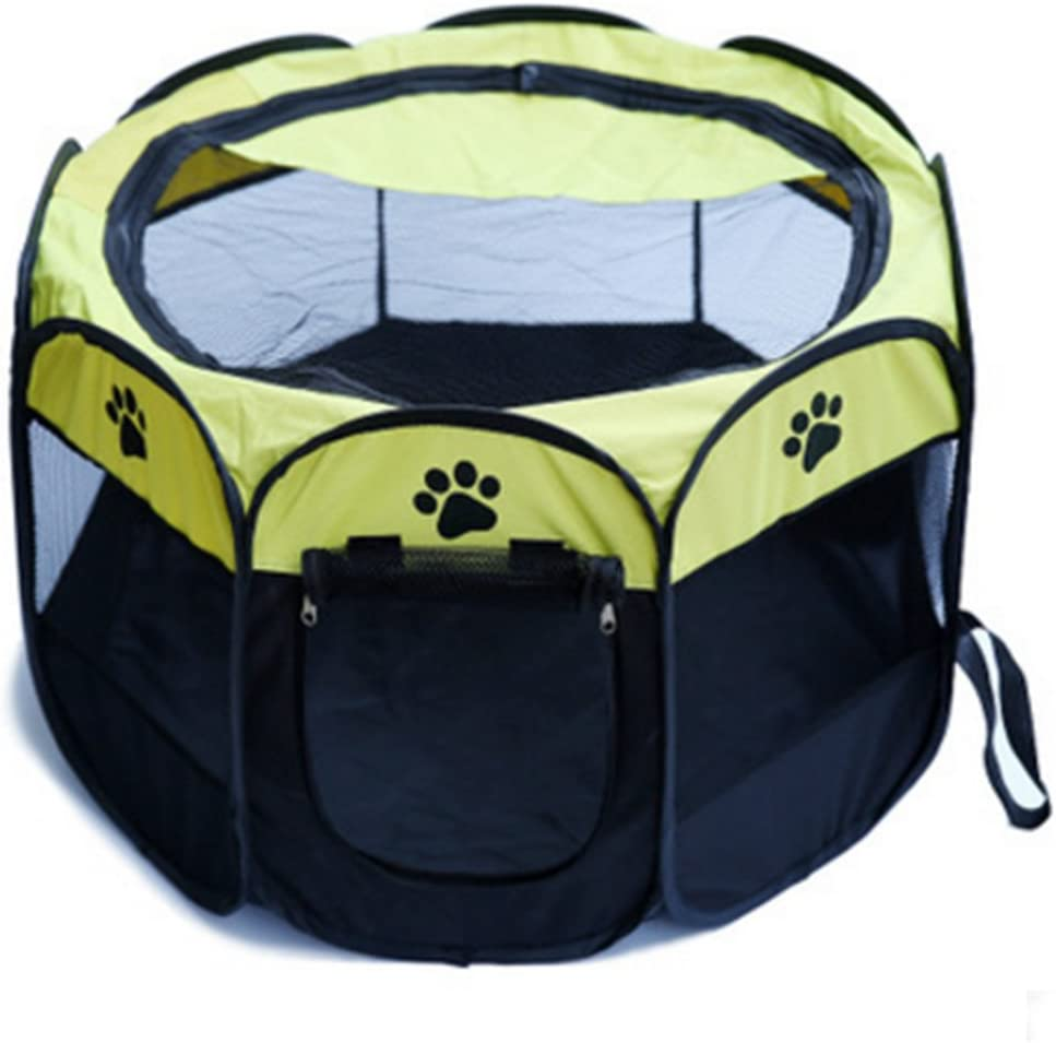 MESASA Portable Foldable Pet Playpen, Indoor Outdoor, Dog Cat Puppy Exercise Pen Kennel, Removable Mesh Shade Cover, Dog pop up Silhouettes pet Pen