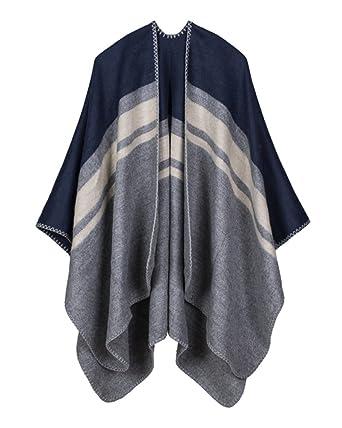Femme Tricoter Cardigan Rayures Style Cape Wrap Châle Pashmina Echarpe  Poncho Shawl Veste Manteau Marine d04dbf7c40d