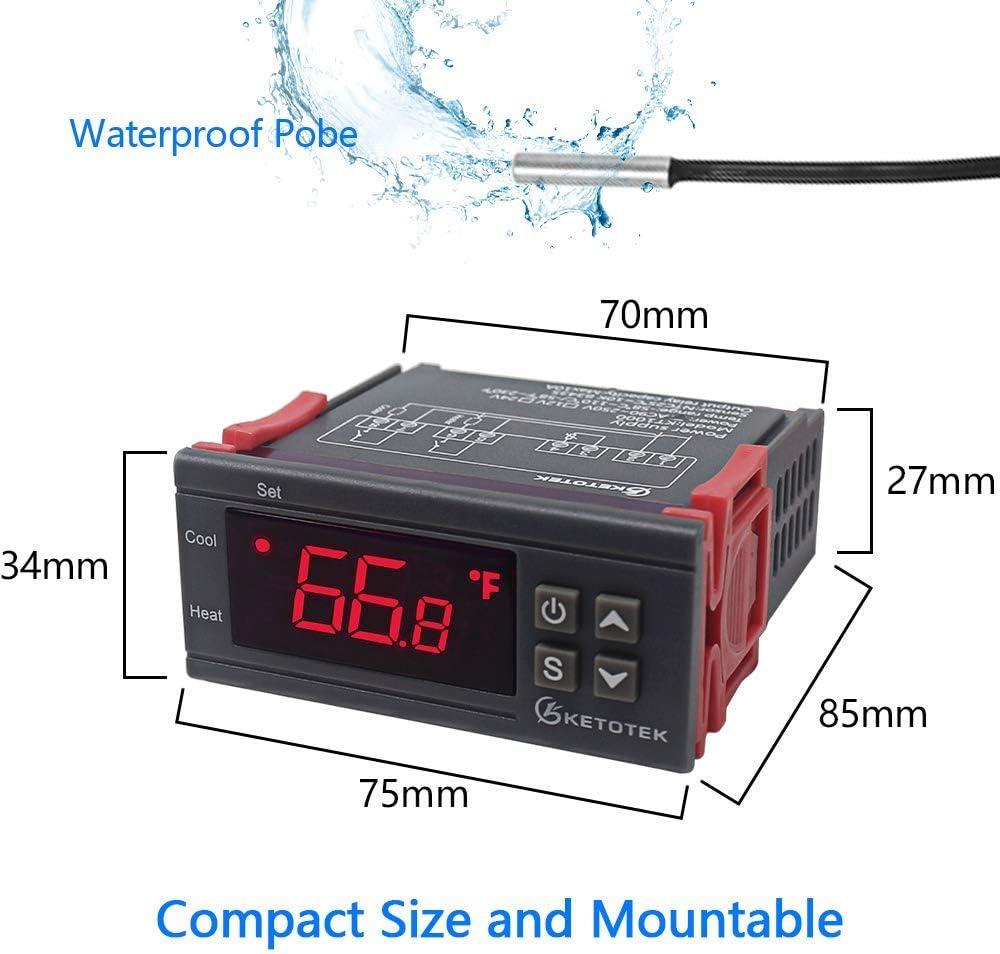 KETOTEK Contr/ôleurs Temp/érature 220V Controleur Thermostatique Capteur Num/érique Thermostat NTC Affichage LED Mini taille pour la germination des plantules de reptiles /à domicile 220V