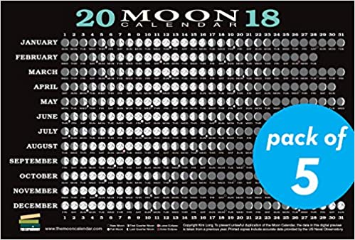 Moon Phases Calendar.2018 Moon Calendar Card 5 Pack Lunar Phases Eclipses And More