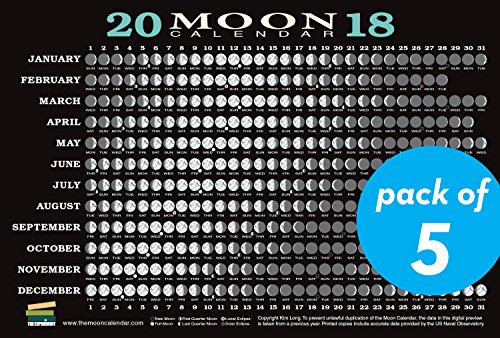 2018 Moon Calendar Card (5-pack): Lunar Phases, Eclipses, and More!