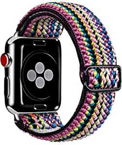 Kraftychix Adjustable Elastic Watch Band Compatible with Apple Watch 38mm/40mm,Soft Stretch Bracelet Women Strap Replacement Wristband for Iwatch Series SE/6/5/4/3/2/1(Rainbow,38MM/40MM)