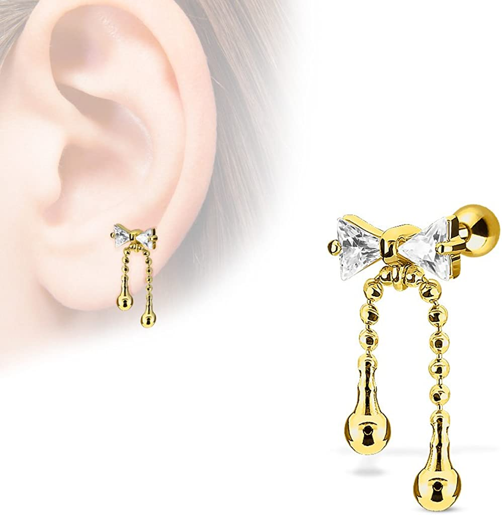 MoBody 16G Clear CZ Jeweled Ribbon with Dangle Chain Tragus Earring Surgical Steel Cartilage Helix Piercing Stud