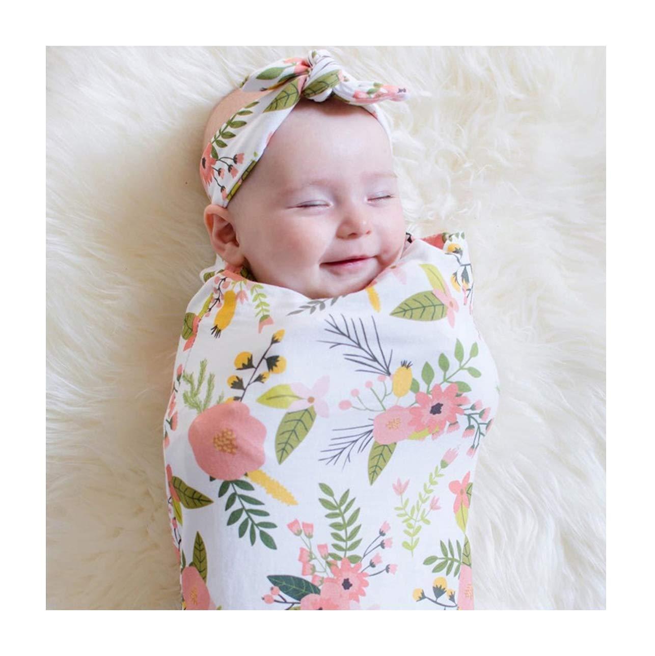 Mummyhug Bebé Recién Nacido que Recibe la Manta Swaddle Sack Print Bebé Floral Sleeping Bag bebé Recién Nacido Apoyos de la Fotografía con la Venda que Empareja (#1)