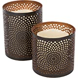Planet Ethnic Decorative Sunflower Design Metal Pillar Candle Holder Set (2 holders, 4 X 4 inch, 4 X 5 inch) with matching size flickering yellow LED wax candles, batteries included (Sunflower)